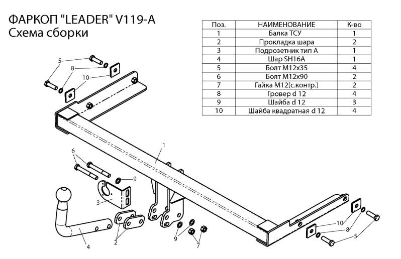 схема-чертеж фаркопа Лидер для Фольксваген Поло седан